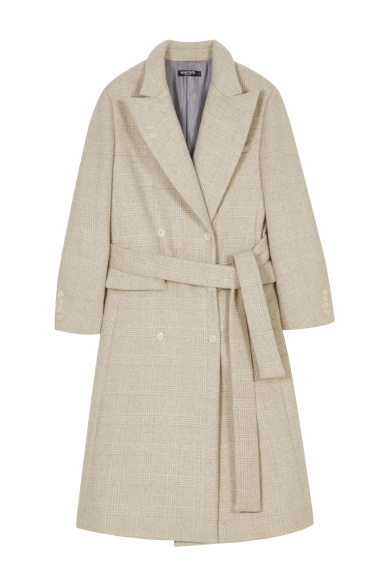 CHECK CHAIN LONG COAT IVORY CHECK