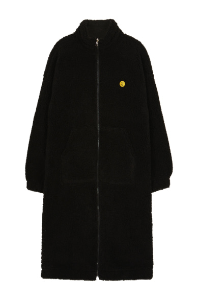 SM:]E PATCH FLEECE ZIP UP REVERSIBLE LONG JACKET BLACK